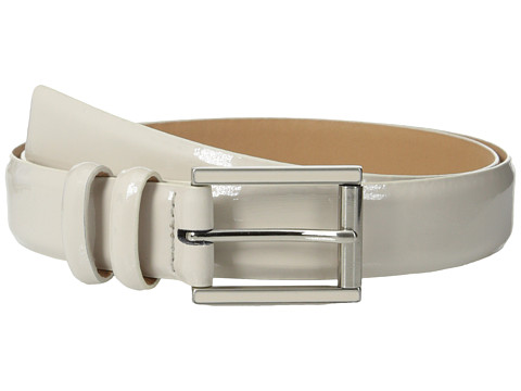 Calvin Klein - 25mm Feather Edge Patent Leather Belt with Harness Roller Buckle and Enamel Fill (Ecru) Women