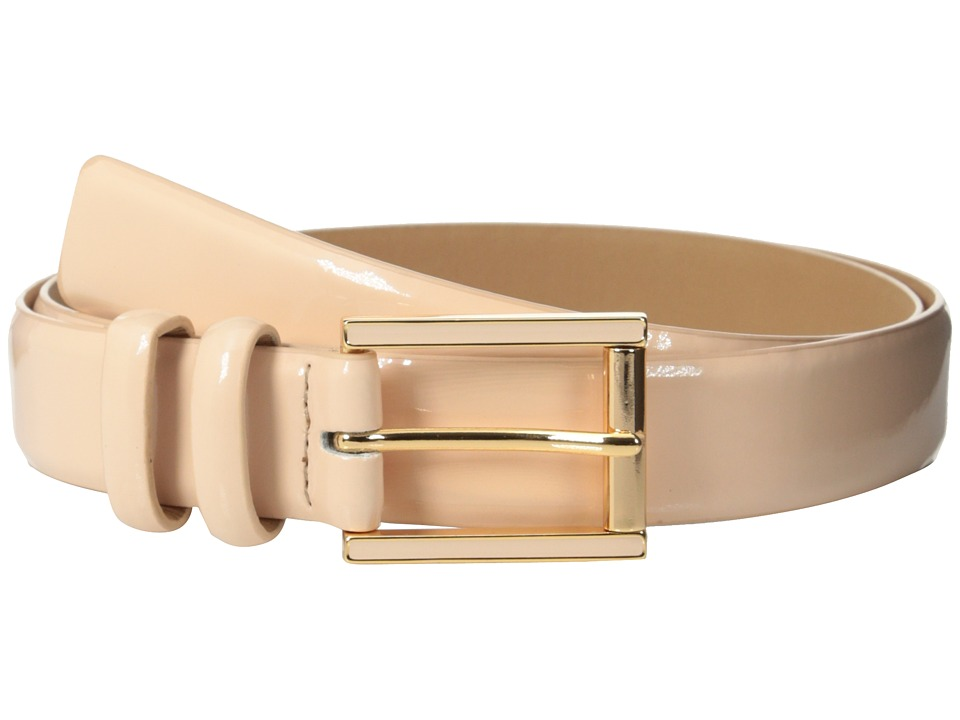 Calvin Klein - 25mm Feather Edge Patent Leather Belt with Harness Roller Buckle and Enamel Fill (Blush) Women