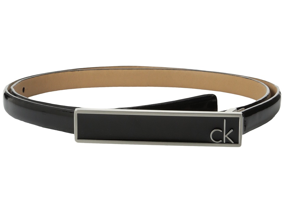 Calvin Klein - 16mm Feather Edge Patent Leather Belt with Plaque Buckle and Enamel Fill (Black) Women