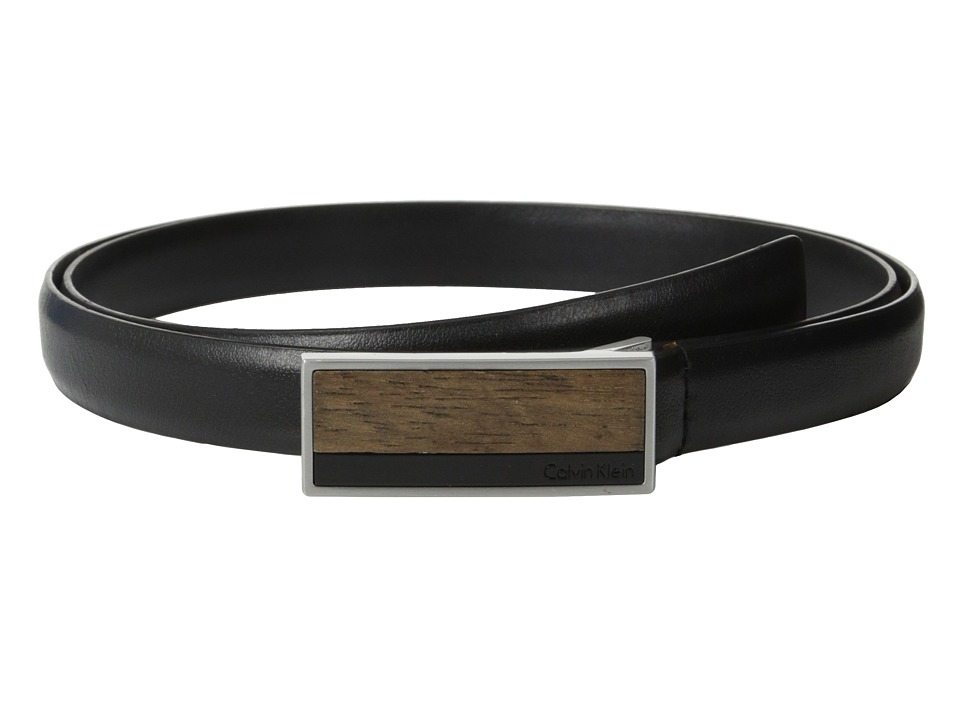 Calvin Klein - 20mm Feather Edge Semi Shine Leather Plaque Buckle with Inlay and Powder Coated Logo Belt (Black) Women
