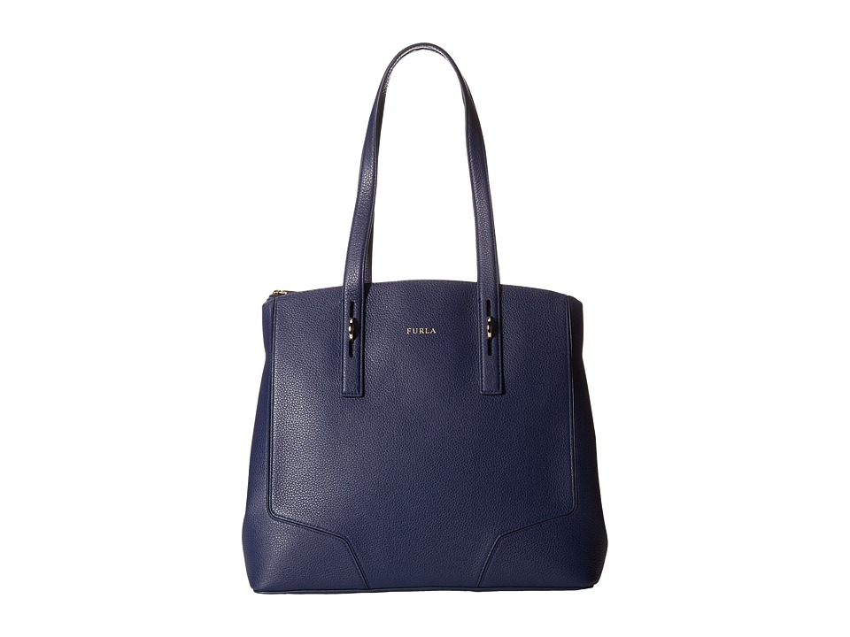 Furla - Perla Medium Tote w/ Zip (Navy) Tote Handbags