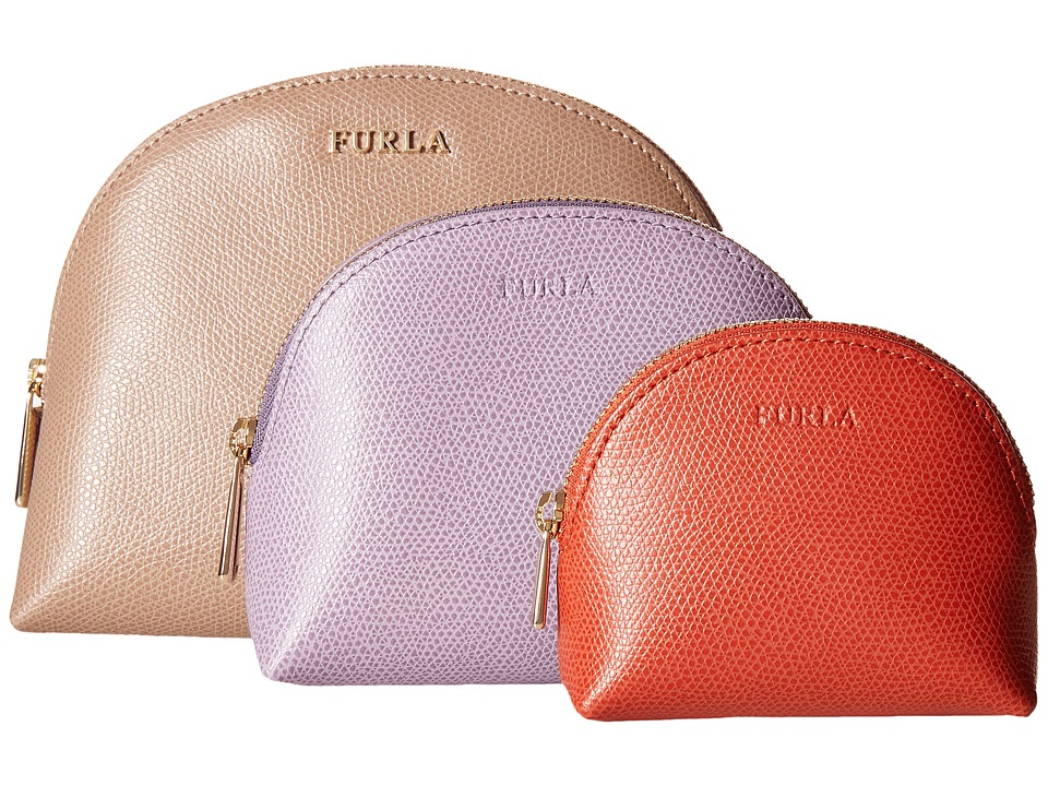 Furla - Babylon Cosmetic Case Set (New Caramello/Storm/Maple) Cosmetic Case