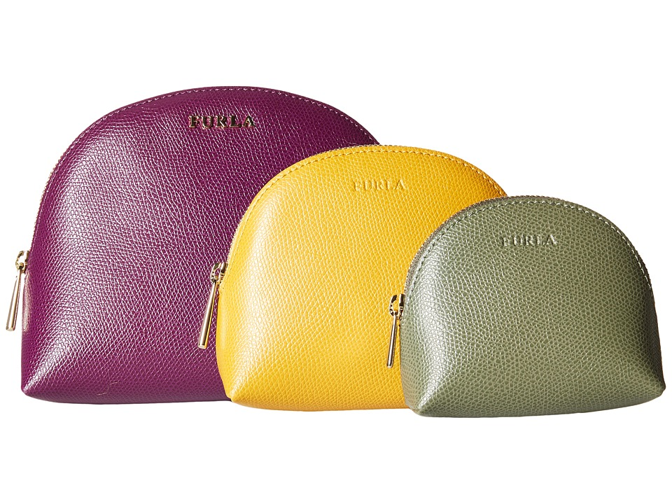 Furla - Babylon Cosmetic Case Set (Aubergine/Girasole/Salvia) Cosmetic Case