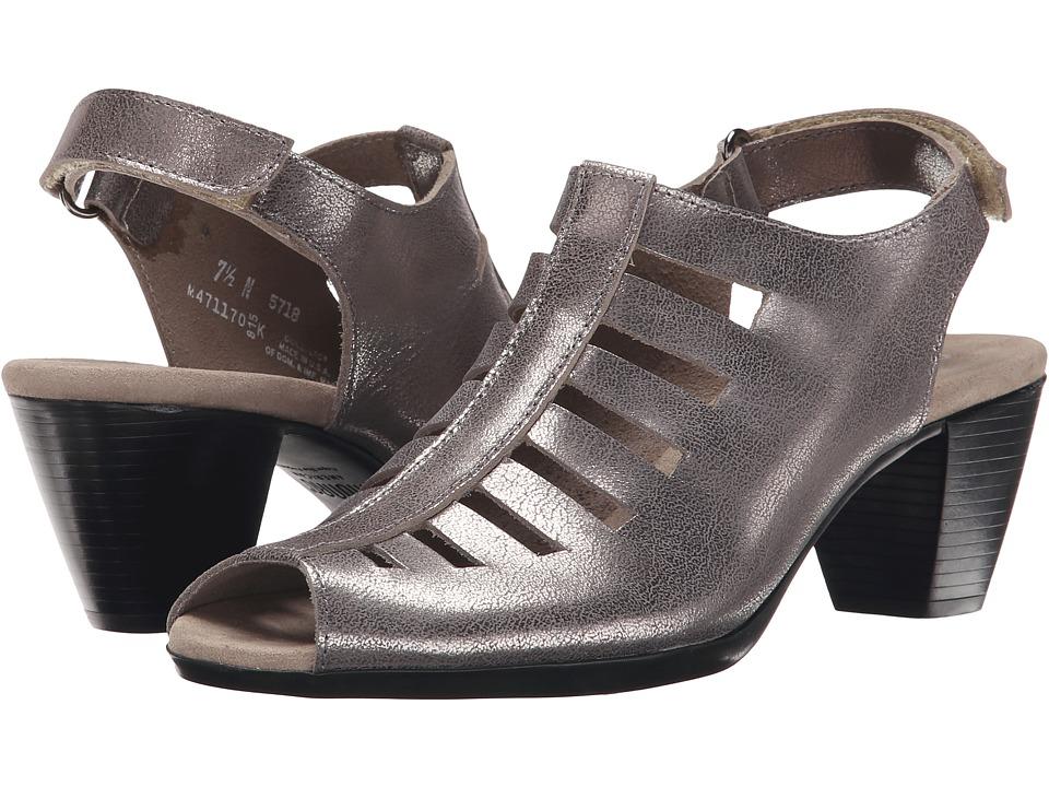 Women's Munro American Abby Dark Grey Metallic Nubuck Heels (Bla