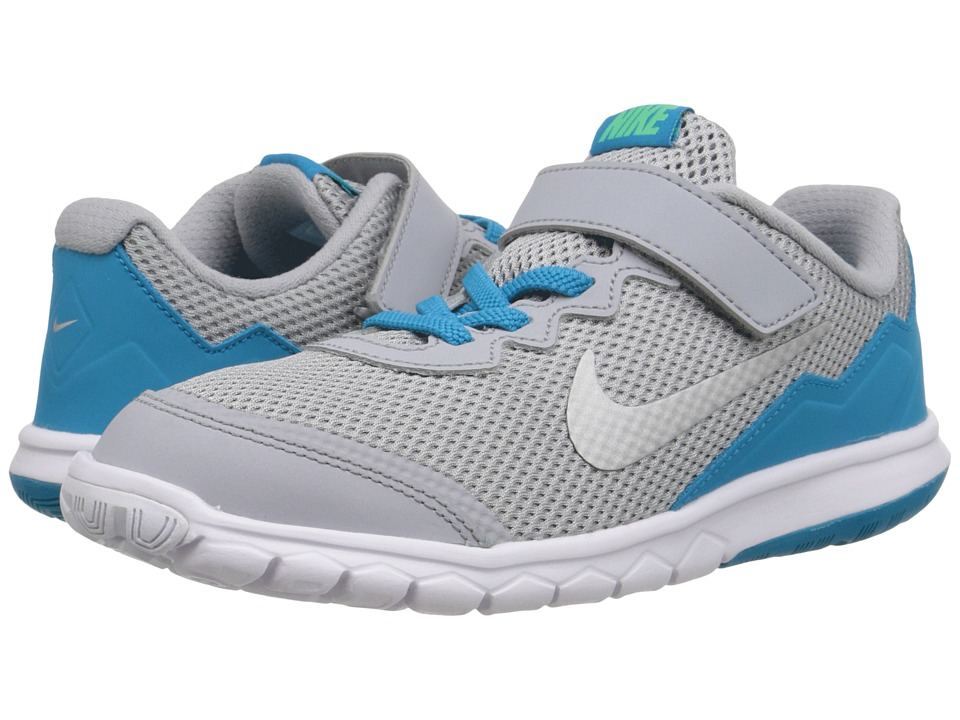 Nike Kids - Flex Experience 4 (Little Kid) (Wolf Grey/Electro Green/Blue Lagoon/Metallic Silver) Girls Shoes