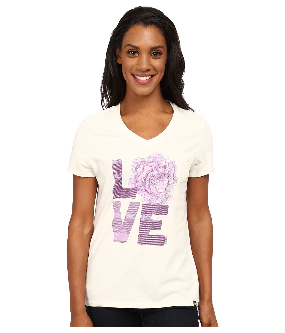 Life is good - Pocket Sleep Vee (Simply Ivory) Women's T Shirt