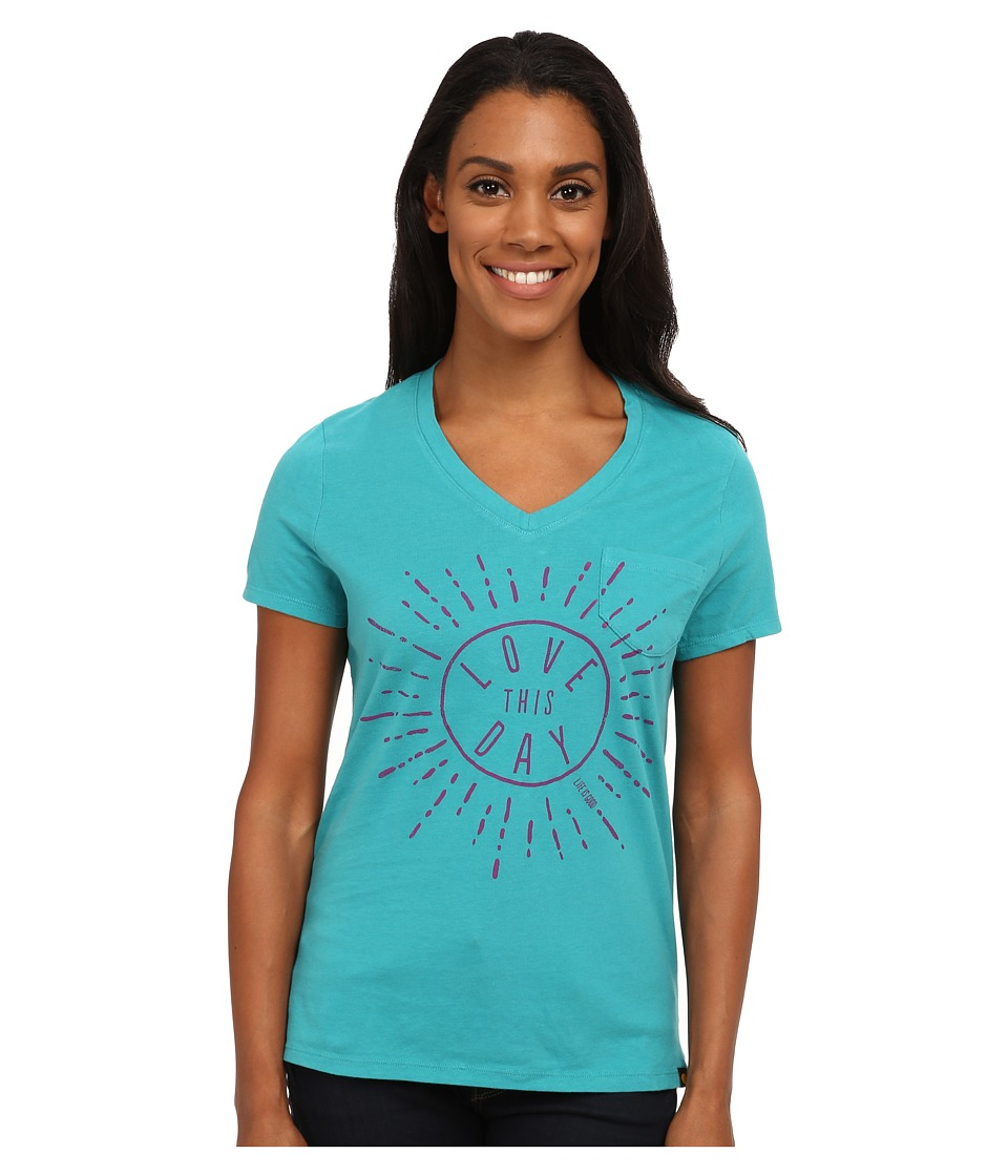 Life is good - Pocket Sleep Vee (Teal Blue) Women's T Shirt