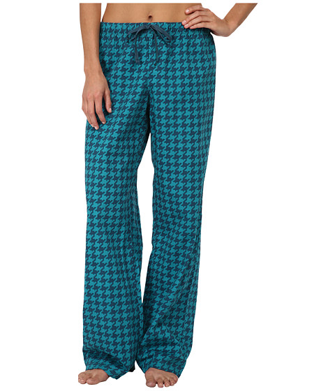 Life is good - Sleep Pants (Teal Blue Printed Houndstooth) Women