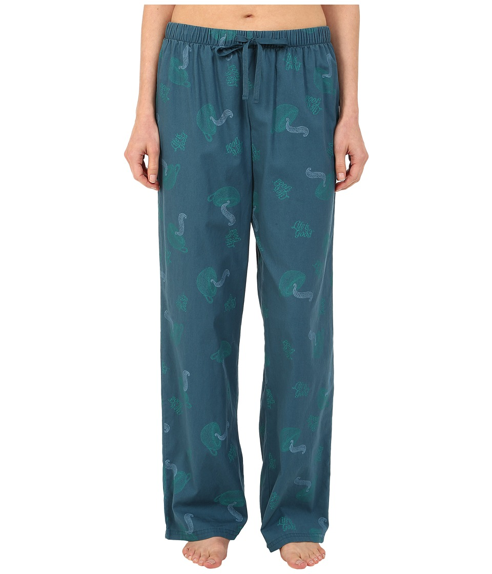 Life is good - Sleep Pants (Pacific Blue Printed Tea Cup) Women's Pajama