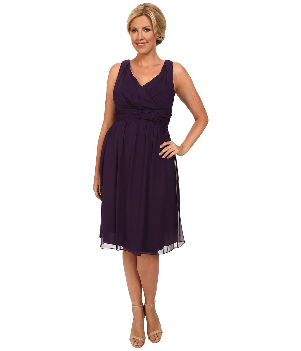 Donna Morgan - Plus Size Jessie Short Bra Friendly Chiffon Dress (Amethyst) Women's Dress