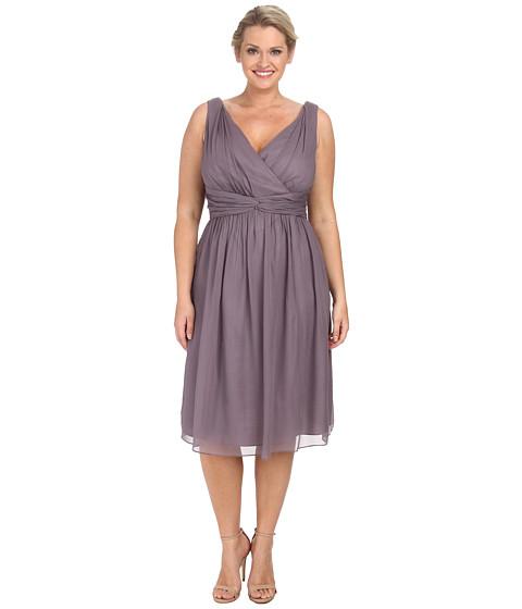 Donna Morgan - Plus Size Jessie Short Bra Friendly Chiffon Dress (Grey Ridge) Women's Dress