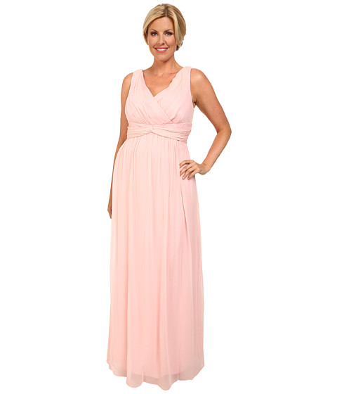 Donna Morgan - Plus Size Julie Long Bra Friendly Chiffon Dress (Blush) Women