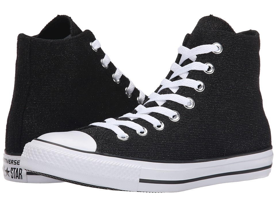 Converse - Chuck Taylor All Star Sparkle Knit Hi (Black/White/Black) Women's Classic Shoes