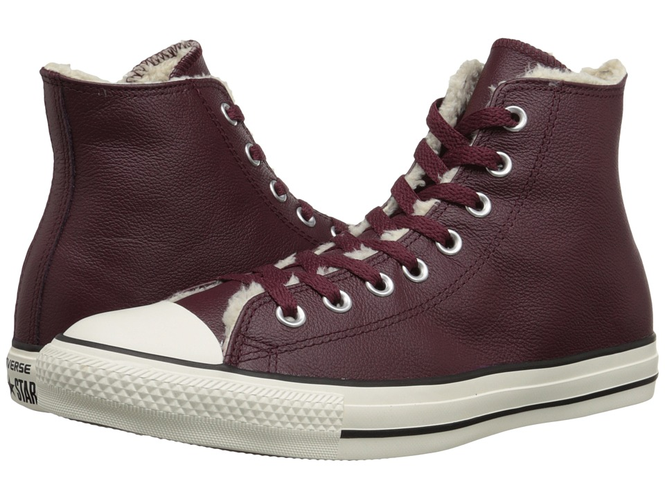 Converse - Chuck Taylor All Star Hi Leather/Shearling (Deep Bordeaux/Natural/Egret) Classic Shoes