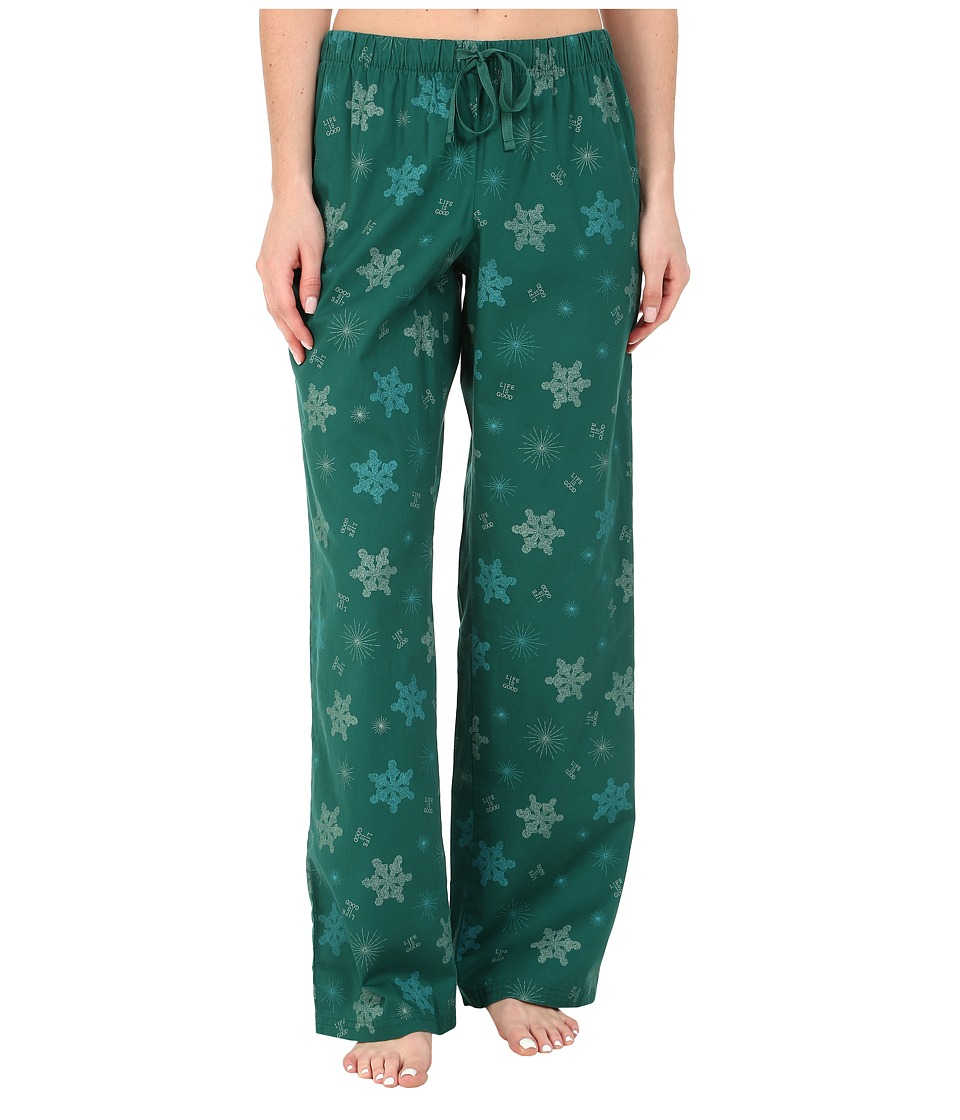 Life is good - Sleep Pant (Hunter Green Printed Snowflake) Women