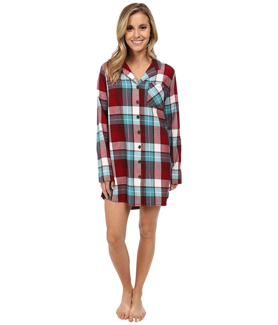 Life is good - Sleep Button-Up Shirt (Red/Teal Plaid) Women's Long Sleeve Button Up