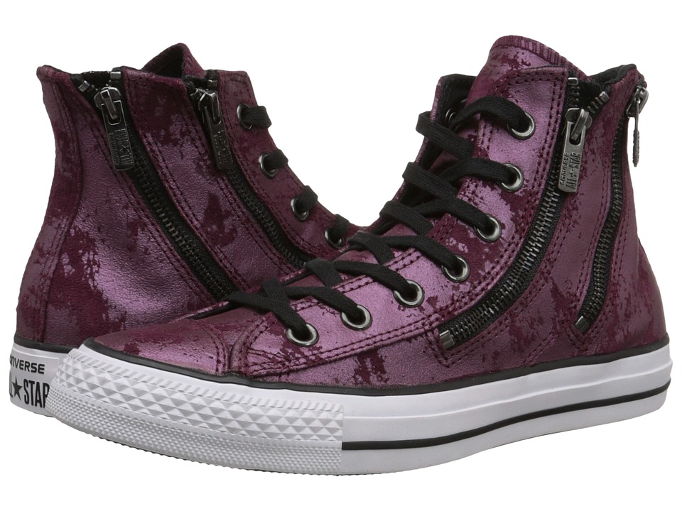 Converse - Chuck Taylor All Star Leather Hardware Dual Zip (Deep Bordeaux/Black/White) Women