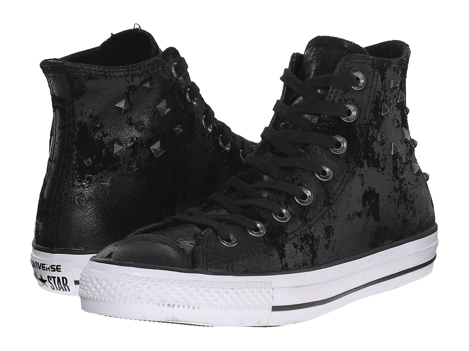 Converse - Chuck Taylor All Star Leather Hardware Hi (Black/Black/White) Women