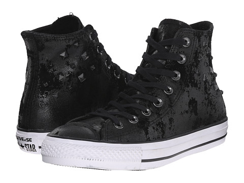 Converse - Chuck Taylor All Star Leather Hardware Hi (Black/Black/White) Women's Classic Shoes