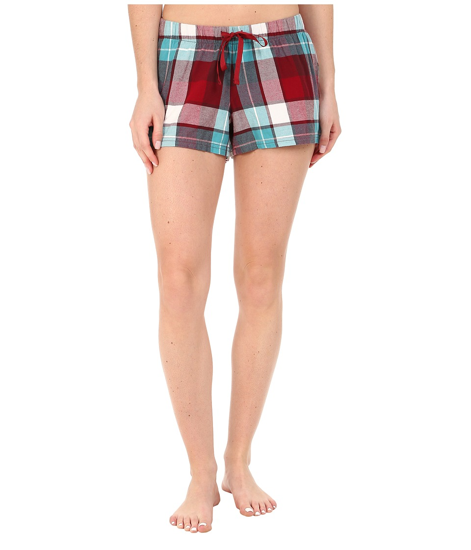 Life is good - Sleep Boxer (Red/Teal Plaid) Women's Pajama