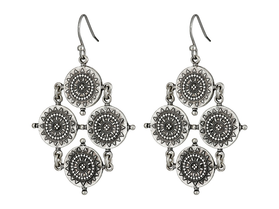 Lucky Brand - Silver Quad Coin Drop Earrings (Silver) Earring
