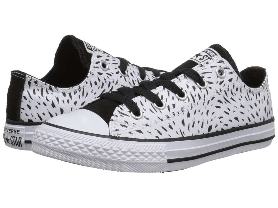 Converse Kids - Chuck Taylor All Star Animal Sparkle - Print Ox (Little Kid/Big Kid) (Black/White/Black) Girls Shoes