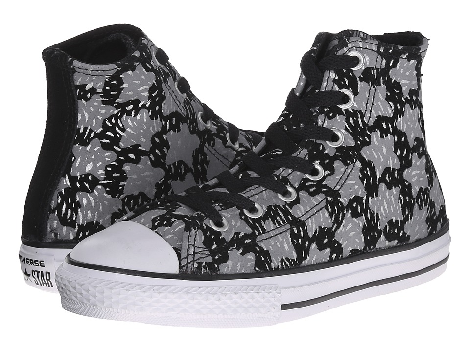 Converse Kids - Chuck Taylor All Star Animal Sparkle - Print Hi (Little Kid/Big Kid) (Black/Mouse/Silver) Girls Shoes