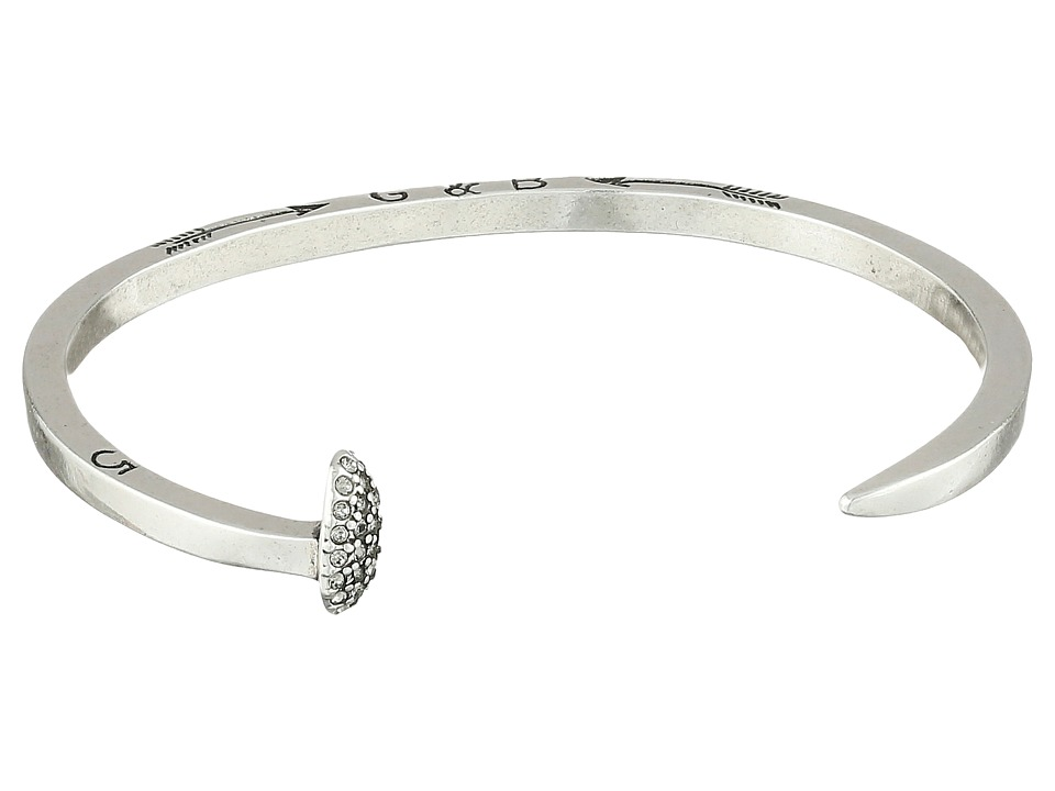 Giles & Brother - Skinny Railroad Spike Cuff w/ Pave (Silver Oxide Finished Brass/Crystal Pave) Bracelet
