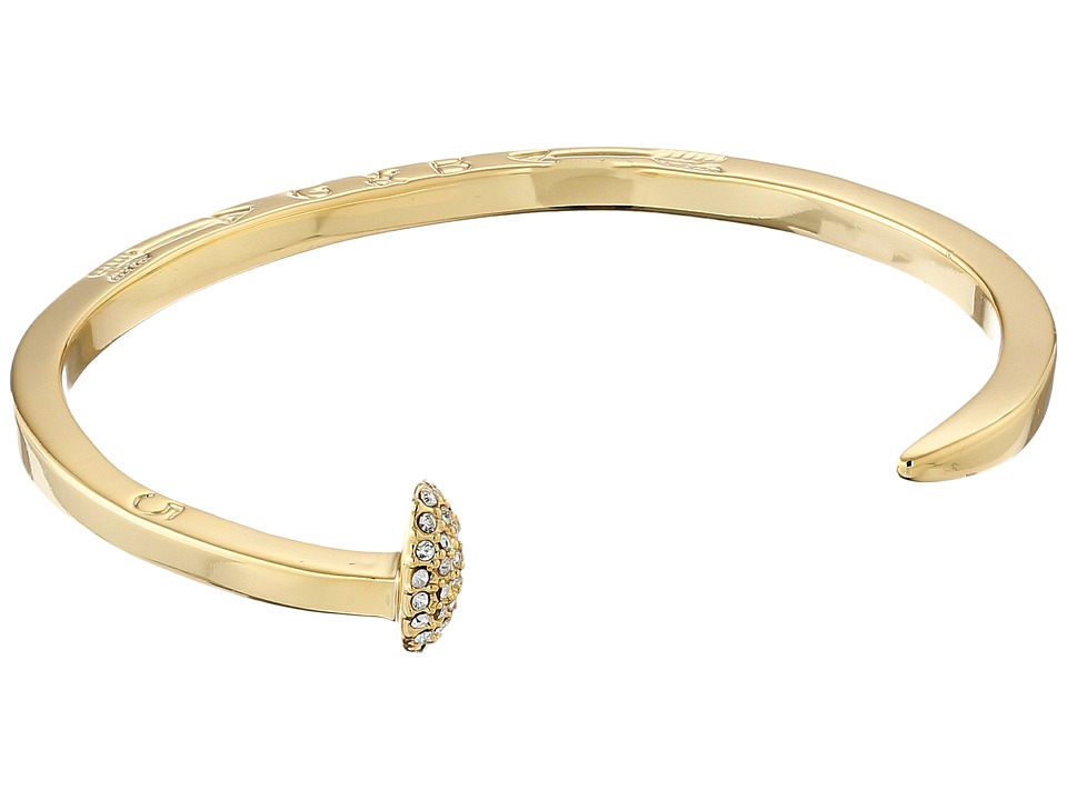 Giles & Brother - Skinny Railroad Spike Cuff w/ Pave (Gold Finished Brass/Crystal Pave) Bracelet