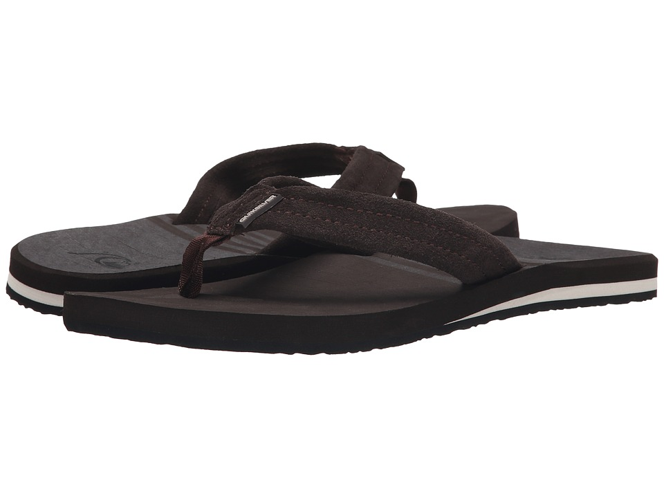 Quiksilver - Carver Suede Art (Brown/Brown/White) Men's Sandals