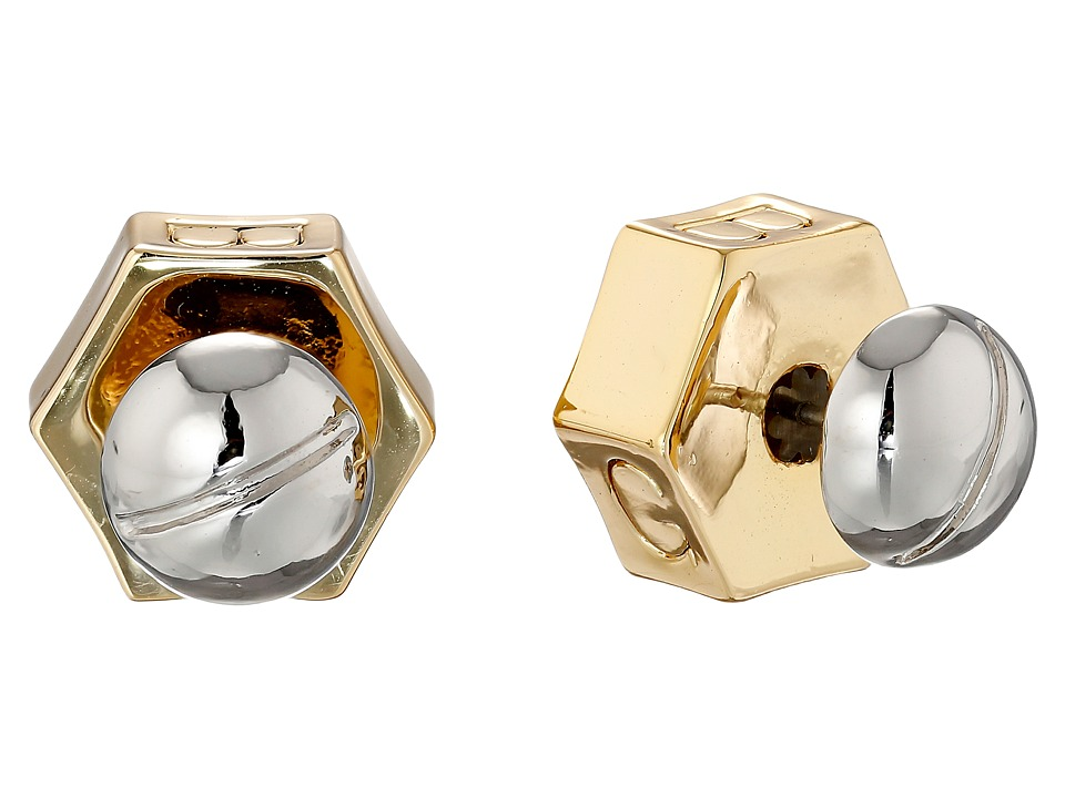 Giles & Brother - Nut Bold Earrings (Rhodium/Gold Plated Brass) Earring