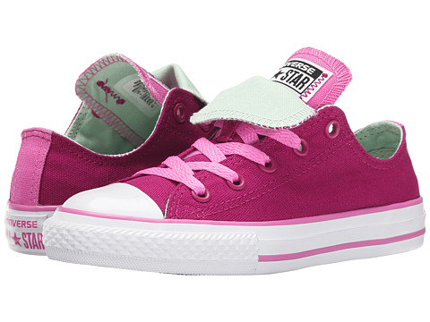 Converse Kids - Chuck Taylor All Star Double Tongue Ox (Little Kid/Big Kid) (Pink Sapphire/Dahlia Pink/Mint Julep) Girls Shoes
