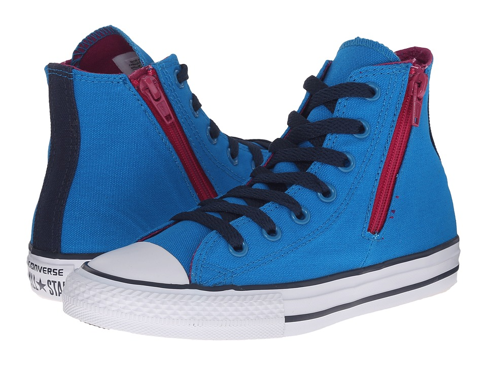 Converse Kids - Chuck Taylor All Star Zip Back Hi (Little Kid/Big Kid) (Cyan Space/Pink Sapphire) Girls Shoes