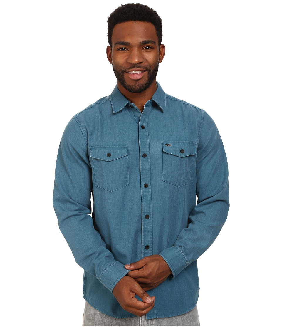 Hurley - Burn Long Sleeve Woven Shirt (Blue Force) Men