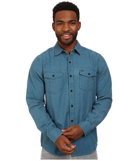 Hurley - Burn Long Sleeve Woven Shirt (Blue Force) Men's Long Sleeve Button Up