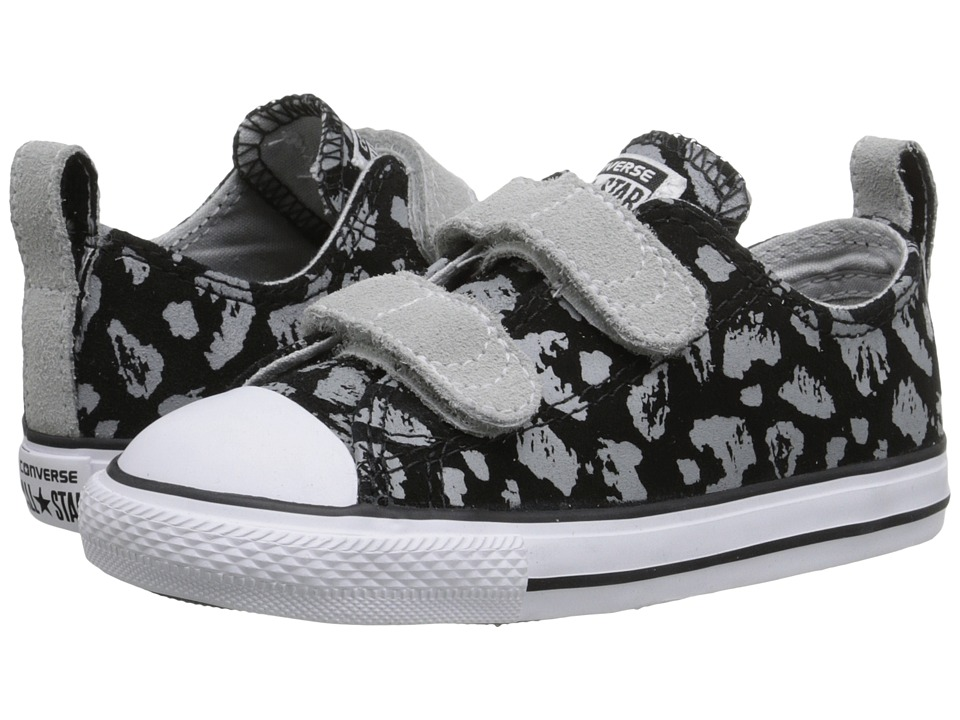 Converse Kids - Chuck Taylor All Star 2V Animal Sparkle (Infant/Toddler) (Black/Mouse/White) Girls Shoes