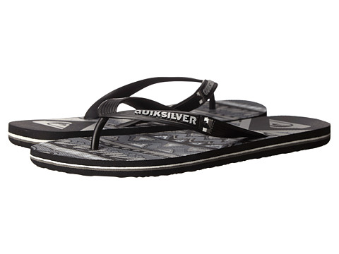 Quiksilver - Molokai New Wave Art (Black/Black/Grey) Men's Sandals