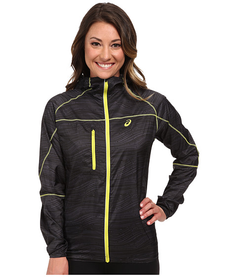 ASICS - Fuji Packable Jacket (Black Wood Print) Women's Coat
