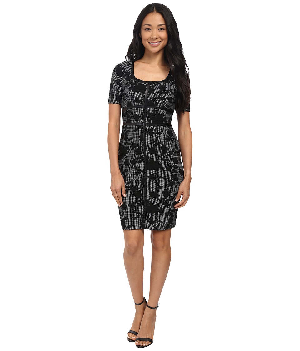 NYDJ - Dahlia Floral Houndstooth Dress (Black) Women's Dress
