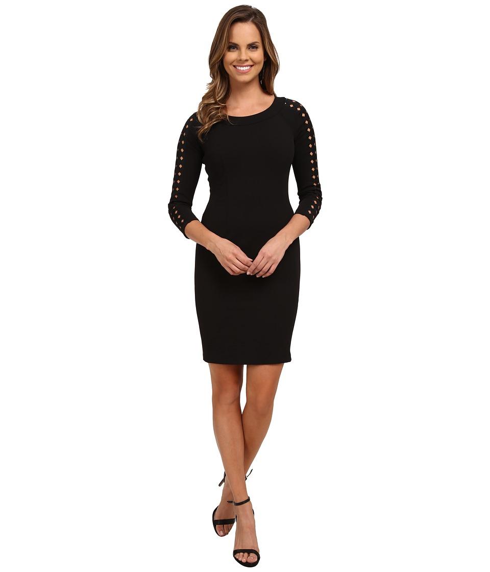 NYDJ - Renee Lattice Trim Dress (Black) Women's Dress