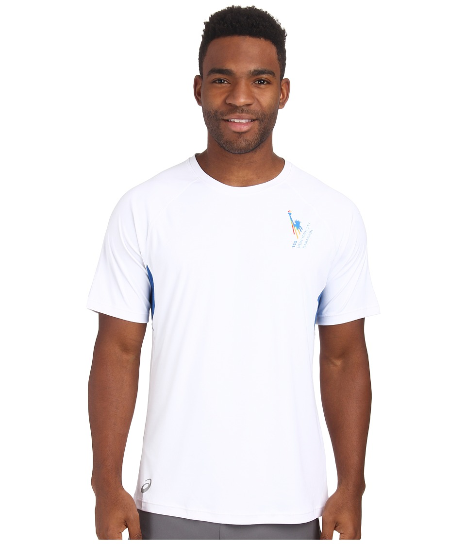 ASICS - NYC Marathon Favorite Short Sleeve (White/New Blue) Men's Short Sleeve Pullover