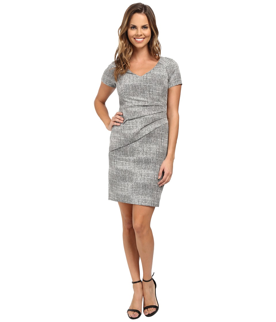 NYDJ - Agnes Side Pleated Sheath Dress (Heather Grey) Women's Dress