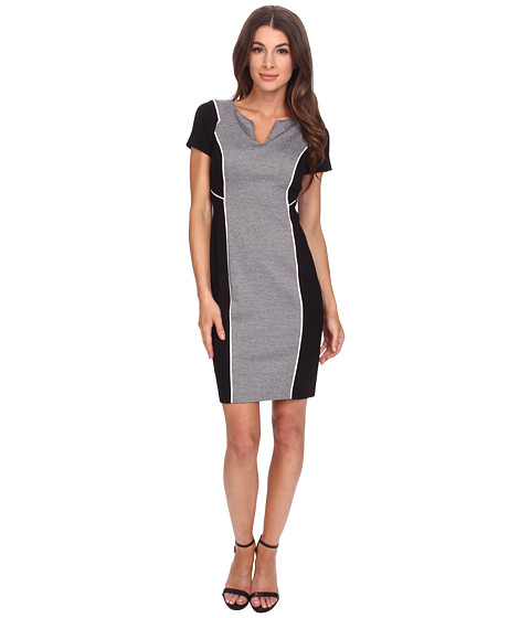 NYDJ - Constance Houndstooth Sheath Dress (Heather Grey) Women