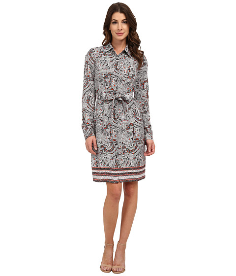 NYDJ - Bernadette Paisley Border Shirt Dress (Haute Chocolate) Women's Dress