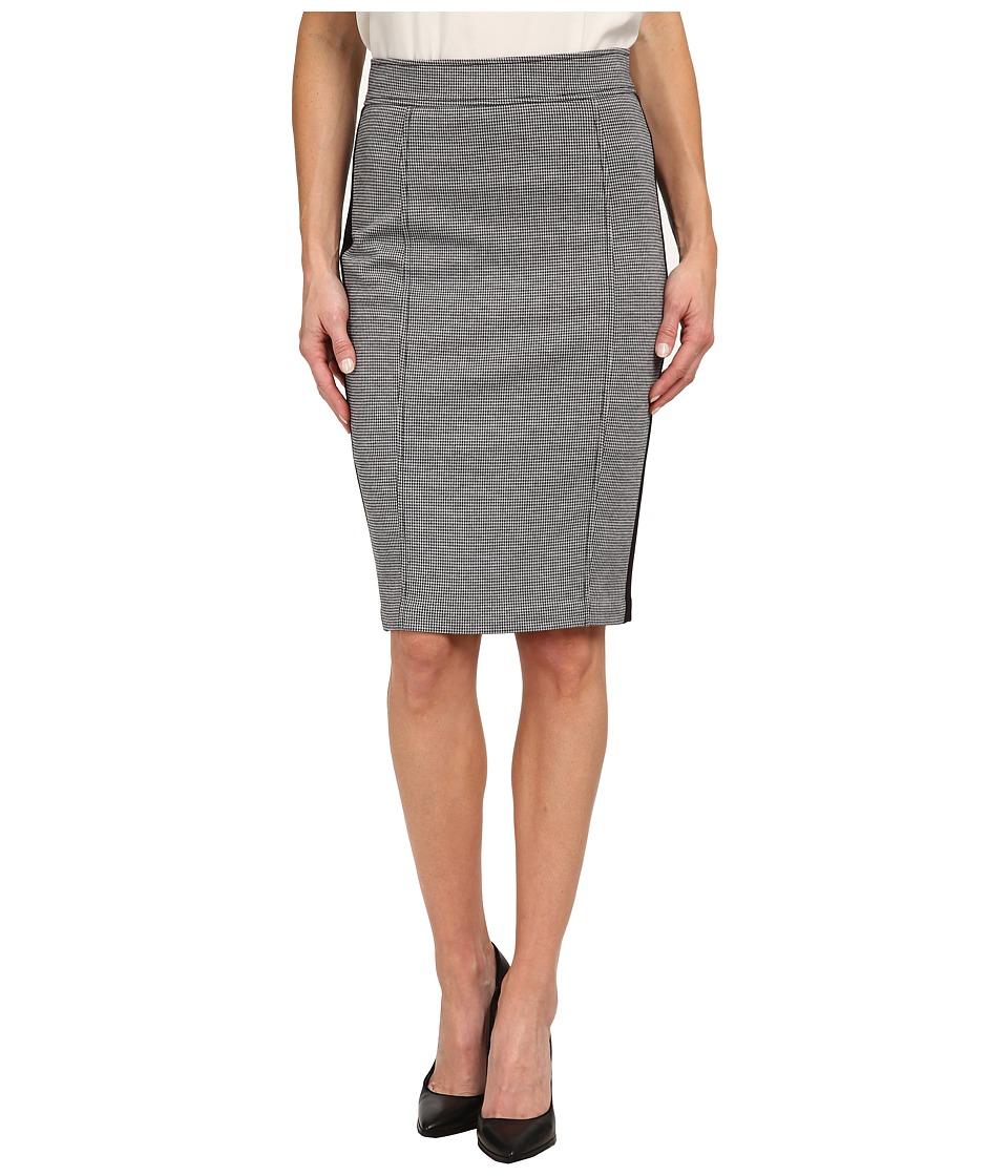NYDJ - Knit Jacquard / Ponte Mix Pencil Skirt (Black Houndstooth) Women's Skirt plus size,  plus size fashion plus size appare