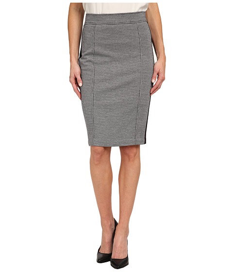 NYDJ - Knit Jacquard / Ponte Mix Pencil Skirt (Black Houndstooth) Women