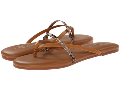 Yosi Samra - River Two-Tone Leather Thong Flip Flop w/ Crossover Strap (Whiskey) Women's Sandals