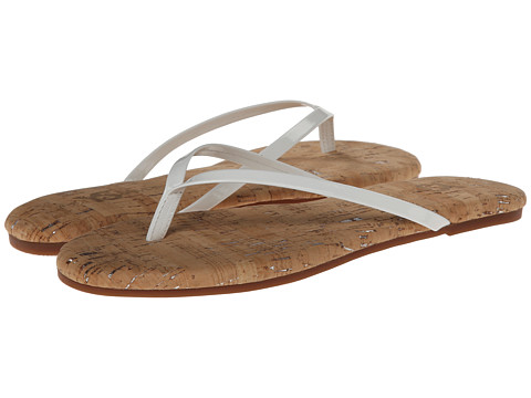 Yosi Samra - Roee Two-Tone Flip Flop w/ Patent Leather Strap Cork Footbed (White) Women's Sandals