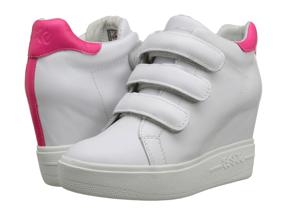 Image of ASH - Avedon (White/Neon Pink Nappa Calf/Neon) Women's Hook and Loop Shoes