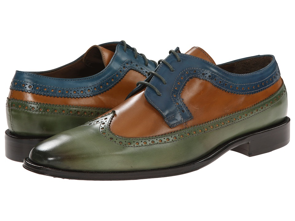 Messico - Chamarel (Green/Honey/Blue) Men's Dress Flat Shoes